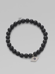 Sydney Evan Diamond Sapphire Black Onyx And 14K White Gold Evil Eye Beaded Stretch Bracelet Black White Gold