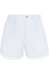 Carven Broderie Anglaise Cotton Shorts Sky Blue