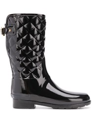 Hunter Refined Short Quilted Wellies Black