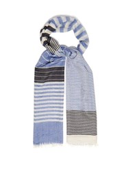 Begg And Co. Staffa Striped Cashmere And Silk Blend Scarf Blue