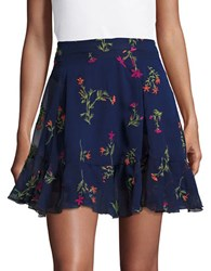 Romeo And Juliet Couture Floral Printed Mini Skirt Navy Multicolor