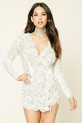 Forever 21 Lace Wrap Front Romper Ivory Nude