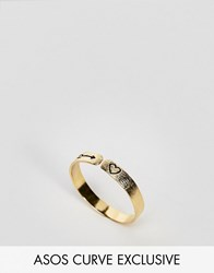 Asos Curve Exclusive Gold Plated Sterling Silver Mystical Engraved Ring Gold