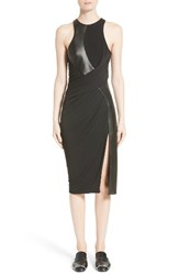 Alexander Wang Women's Draped Jersey And Leather Dress Onyx