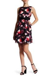 Adrianna Papell Floral Fit And Flare Dress Regular Petite And Plus Red