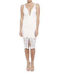 Bardot Gretel Plunging V Neckline Lace Dress White