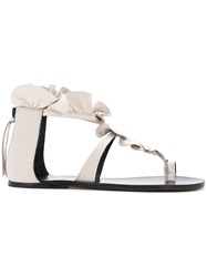 Isabel Marant Flat Ruffle Sandals Women Calf Leather 38 Brown