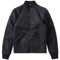 Wings Horns Satin Sherpa Bomber Jacket Black