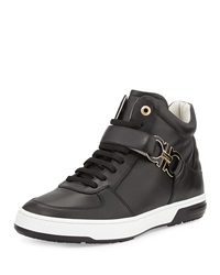Salvatore Ferragamo Nayon High Top Sneaker With Side Gancini Black