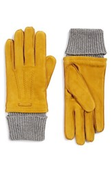 Burberry Men's Suede Gloves Yellow