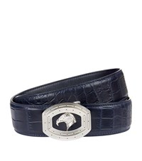 Stefano Ricci Crocodile Skin Eagle Belt Unisex Navy