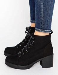 Truffle Collection Canvas Lace Up Boot Black Canvas