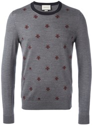Gucci Bee Intarsia Jumper Grey