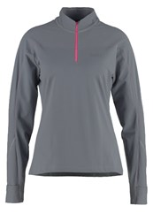 Gore Running Wear Long Sleeved Top Asteroid Grey Magenta