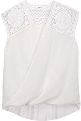 Bailey 44 Emmett Wrap Effect Lace Paneled Silk And Stretch Jersey Top White
