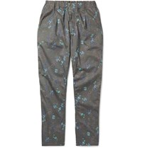 Nonnative Manager Easy Tapered Floral Print Cotton Trousers Gray