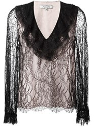 Alexis Ruffled V Neck Lace Blouse Black