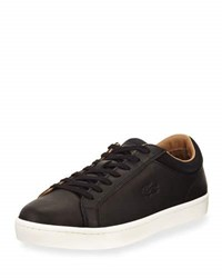 Lacoste Straight Set Leather Sneaker Black