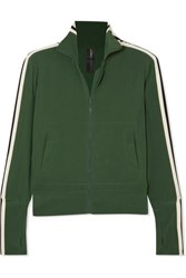Norma Kamali Striped Stretch Jersey Track Jacket Forest Green