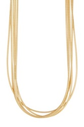 Savvy Cie 14K Yellow Gold Plated Sterling Silver Multi Strand Rope Necklace Metallic