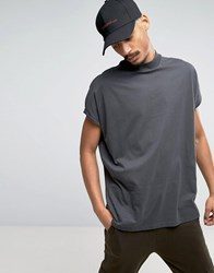 Asos Super Oversized T Shirt With Turtle Neck And Roll Sleeve In Washed Black Bal