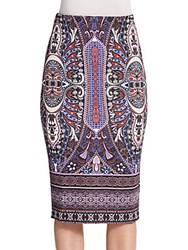 Saks Fifth Avenue Printed Scuba Pencil Skirt Purple Multi