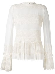 Ermanno Scervino Lace Applique Sheer Blouse Women Silk 42 Nude Neutrals
