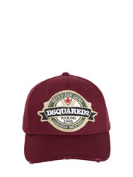 Dsquared Logo Patch Cotton Baseball Hat Bordeaux