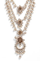 Marchesa Women's Faux Pearl Multistrand Statement Necklace