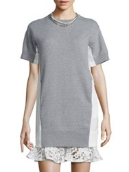Sacai Pearl And Lace Sweatshirt Dress Light Grey White