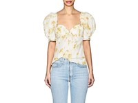 Brock Collection Trixie Floral Cotton Silk Puff Sleeve Blouse Yellow