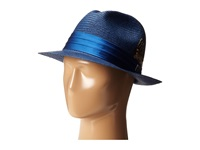 Stacy Adams Toyo Fedora With Snap Brim And 3 Pleat Silk Band Navy Fedora Hats
