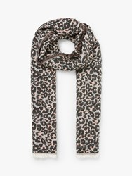 John Lewis Collection Weekend By Leopard Print Fringe Cotton Scarf Blush Multi
