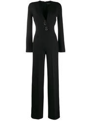 Ermanno Scervino Deep V Neck Jumpsuit Black