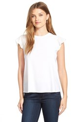 Women's Cece By Cynthia Steffe Chiffon Sleeve Tee Light Cream