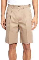 Nordstrom Big And Tall Shop Pleated Supima Cotton Shorts Tan Desert
