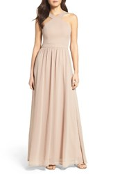 Lulus Women's Cross Neck A Line Chiffon Gown Nude