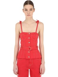 Sjyp Belted Cotton Denim Corset Top Red