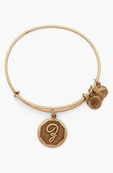 Women's Alex And Ani 'Initial' Adjustable Wire Bangle Z Russian Gold