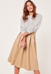 Missguided Nude Premium Faux Leather Pleated Full Midi Skirt