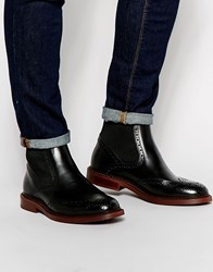 Asos Brogue Chelsea Boots In Black Leather With Chunky Sole Black