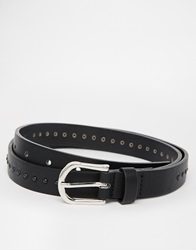 Asos Skinny Belt In Black Faux Leather With Stud Detail
