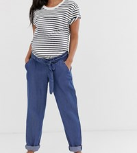 Mamalicious Maternity Loose Denim Trousers Blue