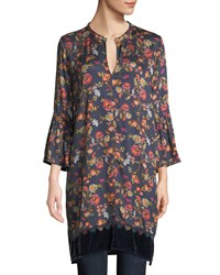 Johnny Was Flare Sleeve Floral Print Tunic W Velvet Trim Multi