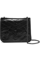Saint Laurent Niki Quilted Crinkled Glossed Leather Shoulder Bag Black