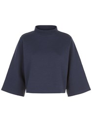 Jaeger Jersey Ribbed Funnel Neck Top Midnight