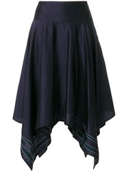 Thom Browne Scarf Hemline Below Knee Silk Skirt Blue