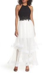 Blondie Nites Applique Tiered Gown Black Ivory