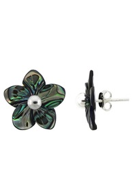 Lord And Taylor Sterling Silver And Abalone Flower Stud Earrings Grey