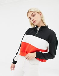 Noisy May Colour Block Sweat With Zip Black Comb Multi